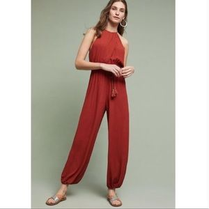 Anthro Elevenses Tassle Jumpsuit Brick size XS